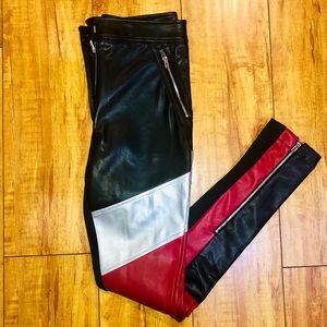 Faux Leather Color Block Pants 🍎